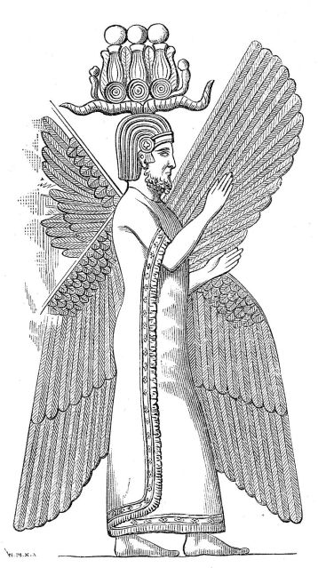Depiction of the relief of Cyrus the Great. Note his two horned helmet.